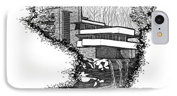 IPhone Case featuring the drawing Falling Water by Calvin Durham