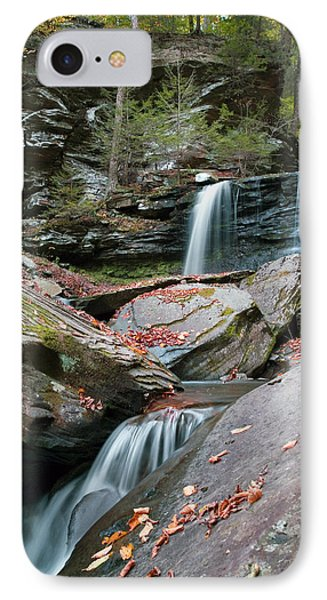IPhone Case featuring the photograph Falling Water Meets Fallen Leaves by Gene Walls