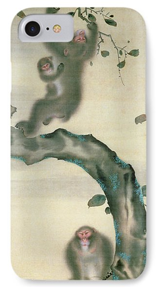 Family Of Monkeys In A Tree IPhone 7 Case by Japanese School