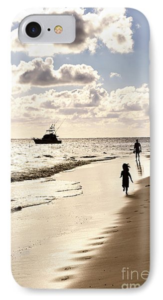 Family On Sunset Beach IPhone Case
