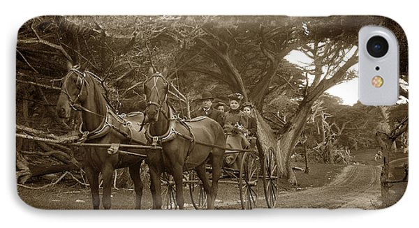 Family Out Carriage Ride On The 17 Mile Drive In Pebble Beach Circa 1895 IPhone Case by California Views Mr Pat Hathaway Archives
