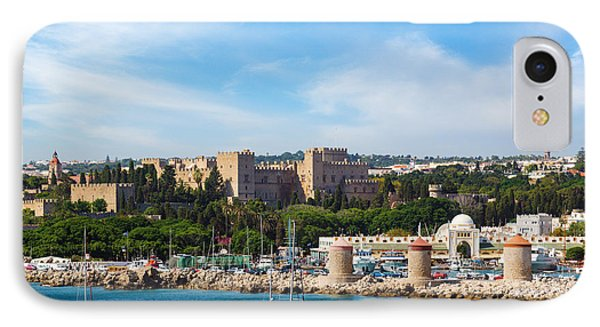Famous Knight Castle And Windmills In Rhodes IPhone Case by Gurgen Bakhshetsyan