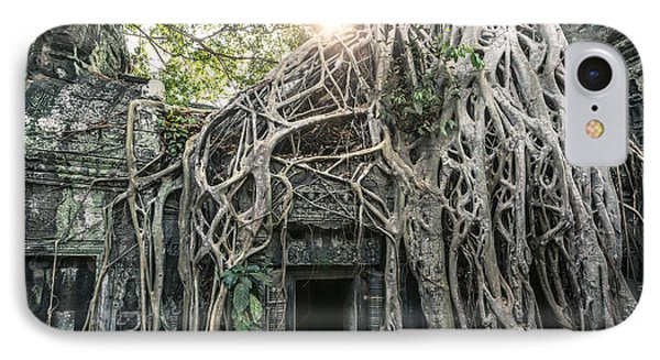 Famous Old Temple Ruin With Giant Tree Roots - Angkor Wat - Cambodia IPhone Case by Matteo Colombo