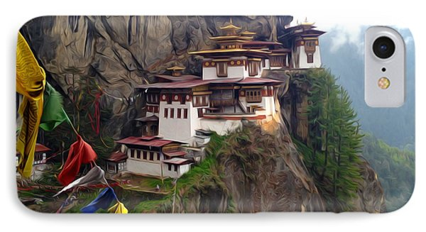 Famous Tigers Nest Monastery Of Bhutan 10 IPhone Case by Lanjee Chee