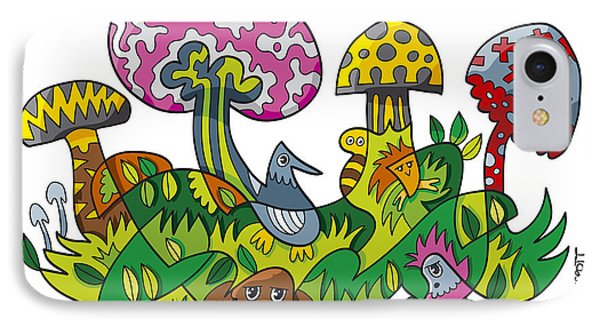Fanciful Mushroom Nature Doodle IPhone Case by Frank Ramspott