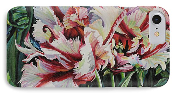 IPhone Case featuring the painting Fancy Parrot Tulips by Jane Girardot