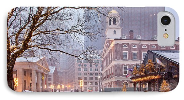 Faneuil Hall In Snow IPhone Case by Susan Cole Kelly