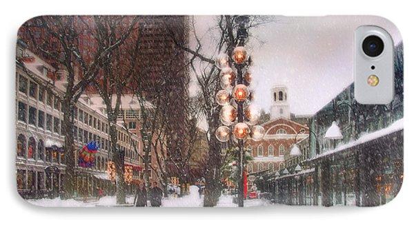 Faneuil Hall Winter Scene IPhone Case by Joann Vitali