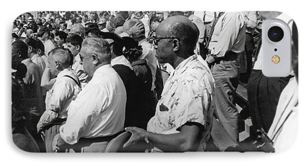 Fans At Yankee Stadium Stand For The National Anthem At The Star Phone Case by Underwood Archives