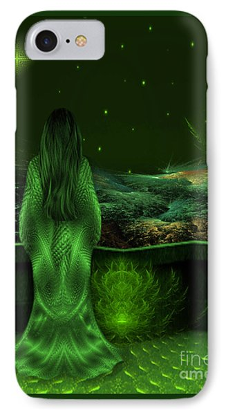 Fantasy Art - Wishing Upon A Star In A Green Night  By Rgiada  IPhone Case by Giada Rossi