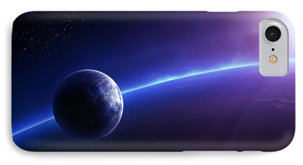 Fantasy Earth And Moon With Colourful  Sunrise Phone Case by Johan Swanepoel
