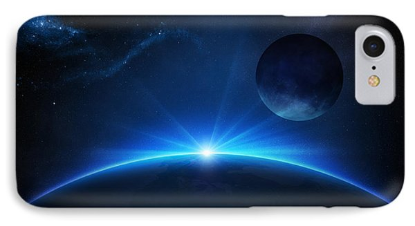 Planets iPhone 7 Case - Fantasy Earth And Moon With Sunrise by Johan Swanepoel