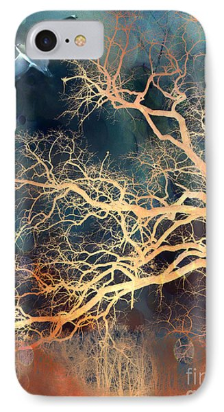 Seagull Gothic Fantasy Surreal Trees And Seagull Flying IPhone Case by Kathy Fornal