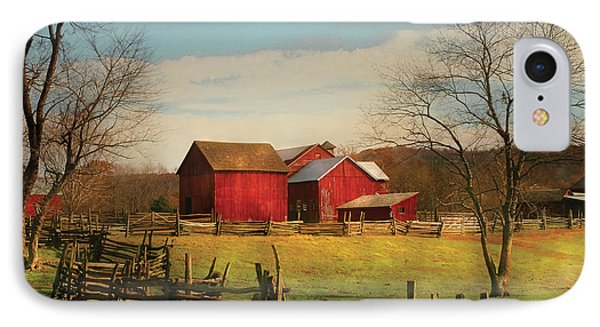 Farm - Barn - Just Up The Path Phone Case by Mike Savad
