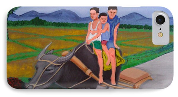 IPhone Case featuring the painting Farm Boys by Cyril Maza