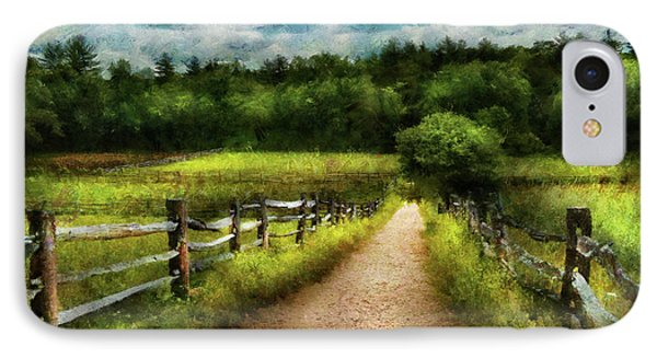 Farm - Fence - Every Journey Starts With A Path  Phone Case by Mike Savad