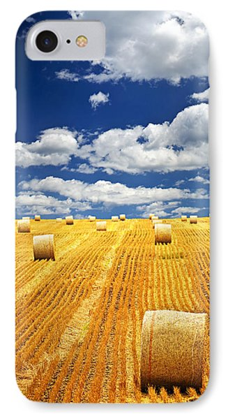 Farm Field With Hay Bales In Saskatchewan IPhone Case by Elena Elisseeva