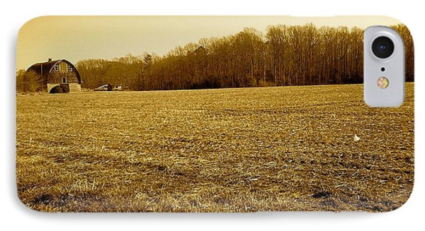 Farm Field With Old Barn In Sepia IPhone Case by Amazing Photographs AKA Christian Wilson