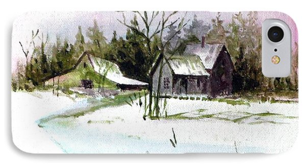 Farm House In The Snow IPhone Case by Jim Phillips