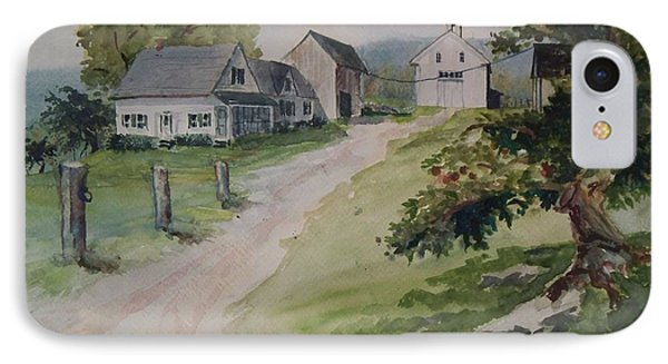 IPhone Case featuring the painting Farm On Orchard Hill by Joy Nichols