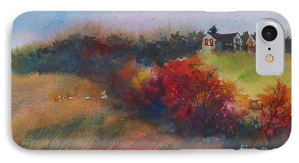 IPhone Case featuring the painting Farm On The Hill At Sunset by Joy Nichols