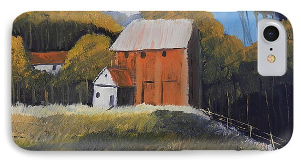 IPhone Case featuring the painting Farm With Red Barn by Pamela  Meredith