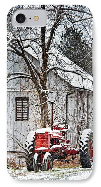 Farmall Tractor In Winter Phone Case by Timothy Flanigan