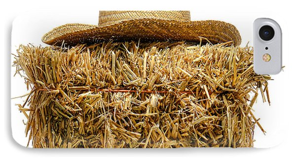 Farmer Hat On Hay Bale Phone Case by Olivier Le Queinec