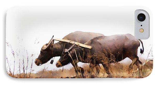 Farmer Plowing Terraced Rice Fields 2 IPhone Case by Lanjee Chee