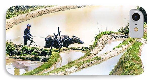 Farmer Plowing Terraced Rice Fields IPhone Case by Lanjee Chee