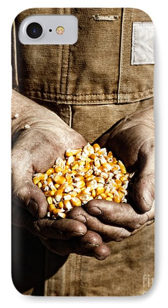 IPhone Case featuring the photograph Farmer's Hands With Seed Corn by Lincoln Rogers
