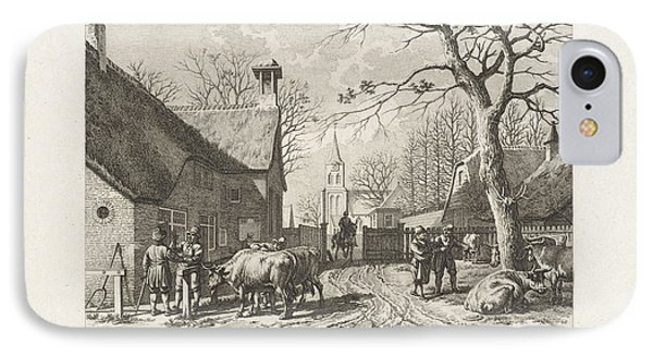 Farmers Negotiate Near Oxen In A Village IPhone Case