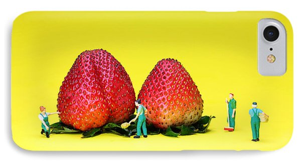 Farmers Working Around Strawberries IPhone Case by Paul Ge
