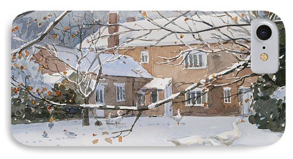 Farmhouse In The Snow IPhone Case