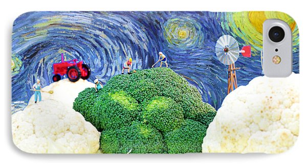 Farming On Broccoli And Cauliflower Under Starry Night Phone Case by Paul Ge