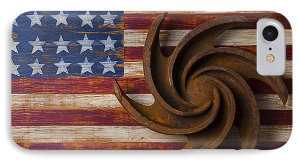 Farming Tool On American Flag Phone Case by Garry Gay