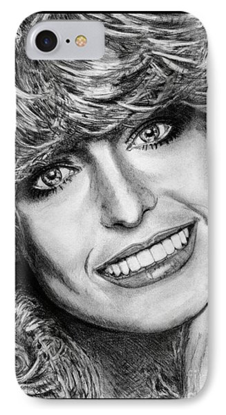 IPhone Case featuring the drawing Farrah Fawcett In 1976 by J McCombie