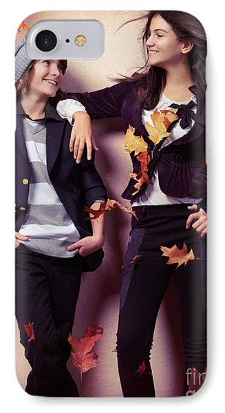 Fashionably Dressed Boy And Teenage Girl Under Falling Autumn Le Phone Case by Oleksiy Maksymenko