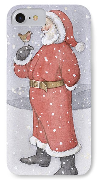 Father Christmas And A Robin Phone Case by Lavinia Hamer