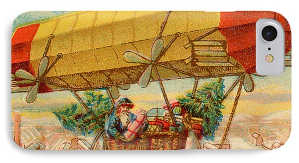 Father Christmas In Airship Phone Case by Mary Evans