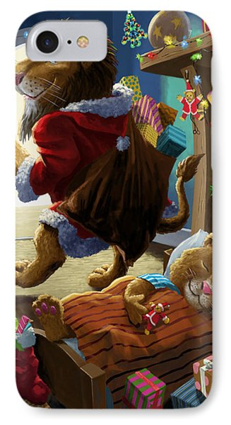 Father Christmas Lion Delivering Presents Phone Case by Martin Davey