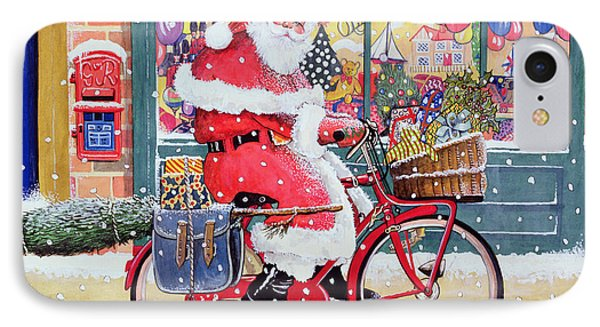 Father Christmas On A Bicycle Wc IPhone Case by Tony Todd