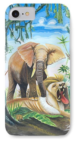 IPhone Case featuring the painting Faune D'afrique Centrale 01 by Emmanuel Baliyanga