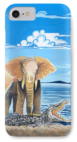 IPhone Case featuring the painting Faune D'afrique Centrale 02 by Emmanuel Baliyanga
