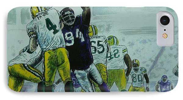 IPhone Case featuring the painting Favre Vs The Vikes by Dan Wagner