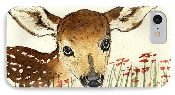 Fawn In The Flowers IPhone Case by Juan  Bosco