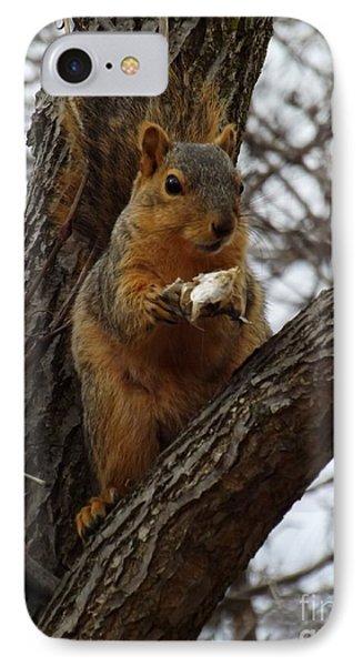 Feasting On Fish Fox Squirrel Phone Case by Sara  Raber