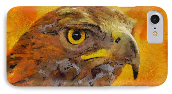 IPhone Case featuring the painting Feathered Predator by Wayne Pascall