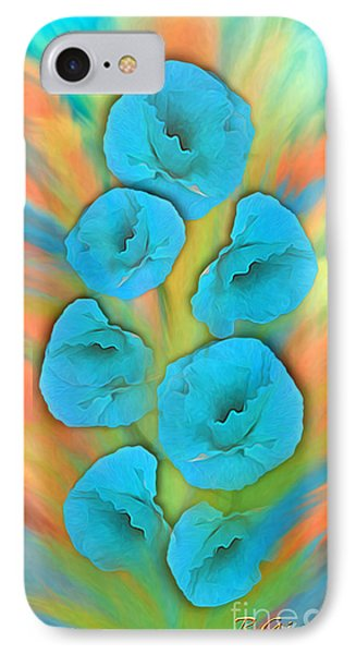 Feathered Turquoise Poppies IPhone Case
