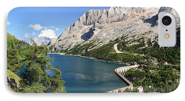 IPhone Case featuring the photograph Fedaia Pass With Lake by Antonio Scarpi